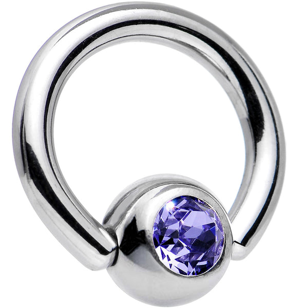 14 Gauge 5/16 Tanzanite Captive Ring Created with Swarovski Crystals