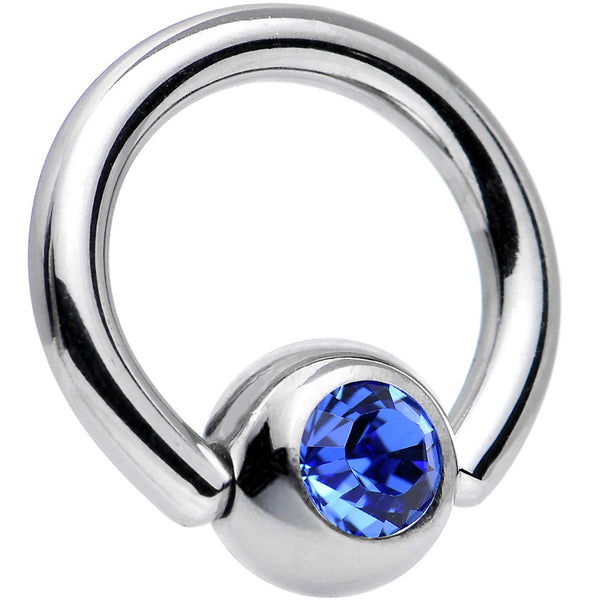 14 Gauge 5/16 Sapphire Captive Ring Created With Swarovski Crystals