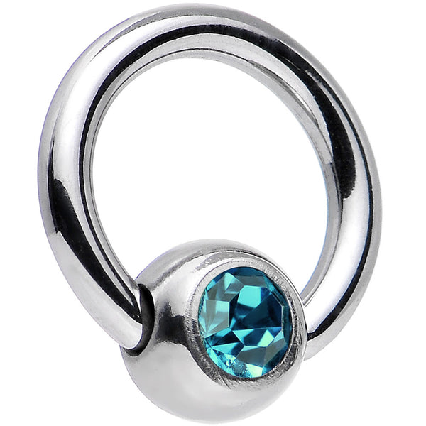 16 Gauge 1/4 Zircon Blue Captive Ring Created with Swarovski Crystals