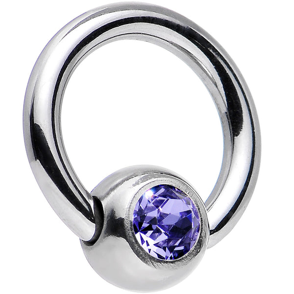 16 Gauge 1/4 Tanzanite Captive Ring Created with Swarovski Crystals