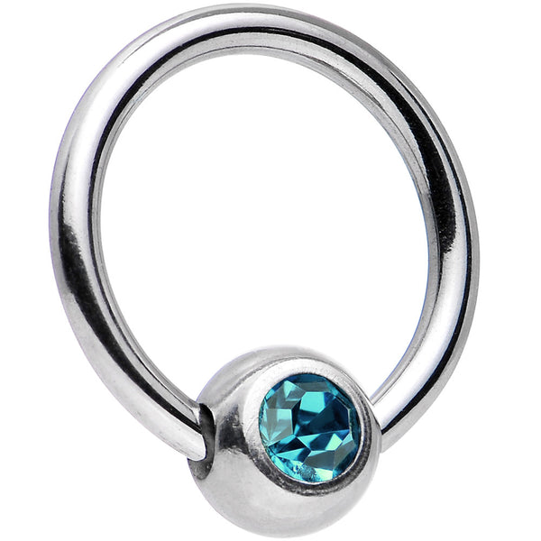 16 Gauge 5/16 Zircon Blue Captive Ring Created with Swarovski Crystals