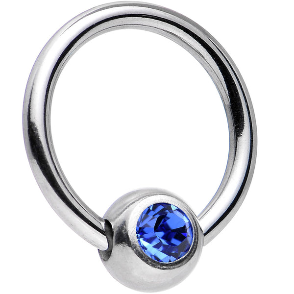 16 Gauge 5/16 Sapphire Captive Ring Created with Swarovski Crystals