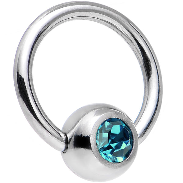 18 Gauge 1/4 Blue Zircon Captive Ring Created With Swarovski Crystal