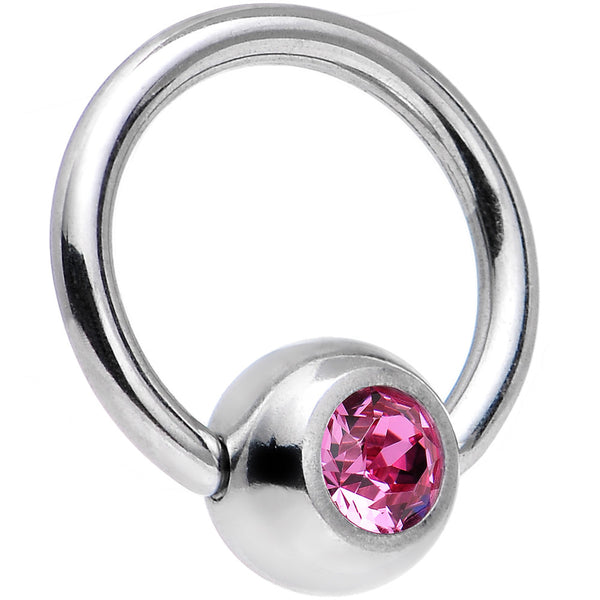 18 Gauge 1/4 Rose Captive Ring Created with Swarovski Crystals