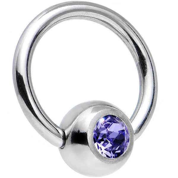 18 Gauge 1/4 Tanzanite Captive Ring Created with Swarovski Crystals