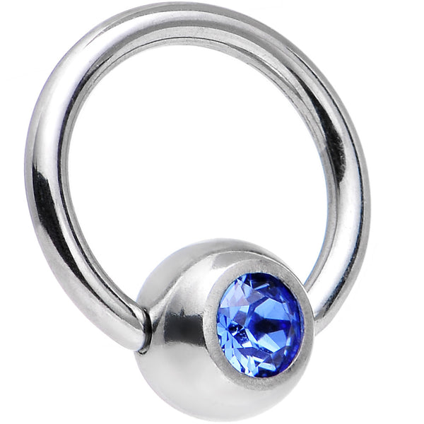 18 Gauge 1/4 Sapphire BCR Captive Ring Created With Swarovski Crystal
