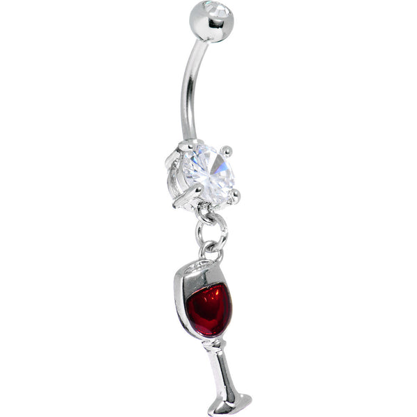 Red Wine Glass Belly Ring