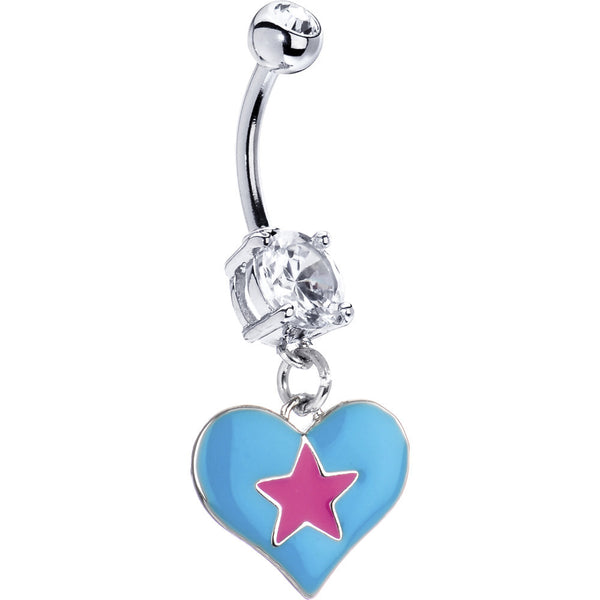 Blue-Pink Star Heart Belly Ring