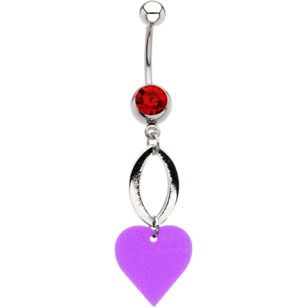 Light Siam Cubic Zirconia Falling Heart Belly Ring