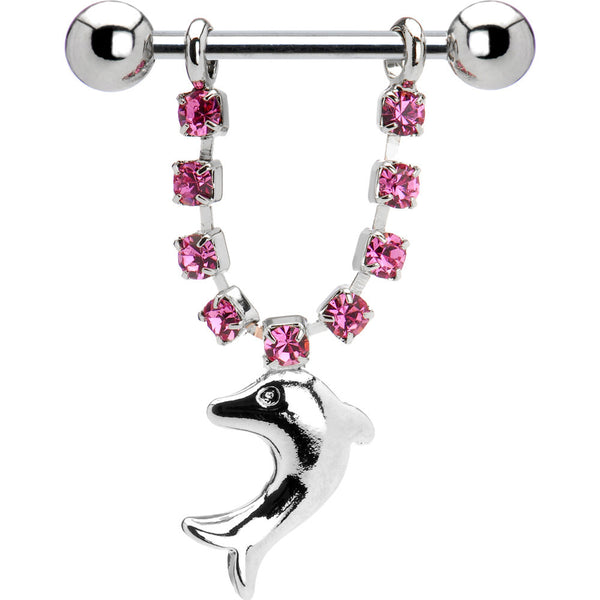 Pink Gem Dolphin Nipple Ring