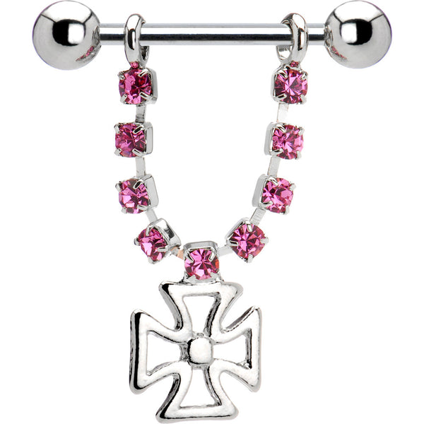Pink Gem Iron Cross Nipple Ring