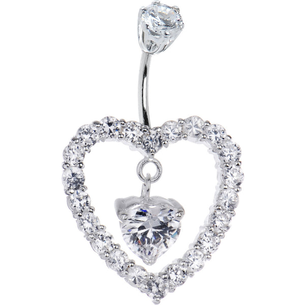 Sterling Silver 925 Clear Cubic Zirconia Heart of Hearts Belly Ring