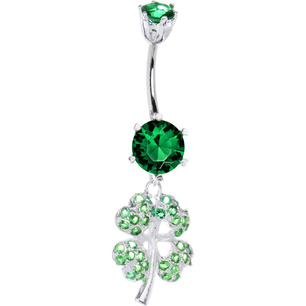 Sterling Silver 925 Green Cubic Zirconia Four Leaf Clover Belly Ring