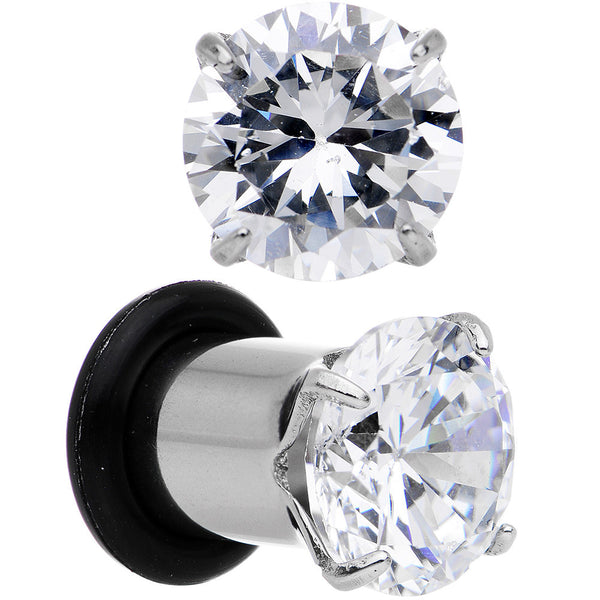 2 Gauge Clear CZ Gem Stainless Steel Single Flare Plug Set