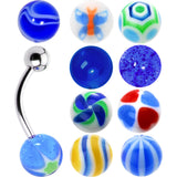 14 Gauge Multi Blue 10 Ball Interchangeable Belly Ring Pack