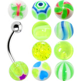 14 Gauge Multi Lime 10 Ball Interchangeable Belly Ring Pack Set