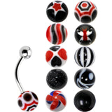 14 Gauge Multi Black 10 Ball Interchangeable Belly Ring Pack Set