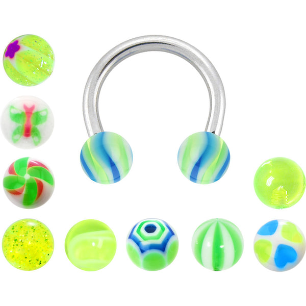14 Gauge Multi Lime 10 Pair Interchangeable Horseshoe Pack