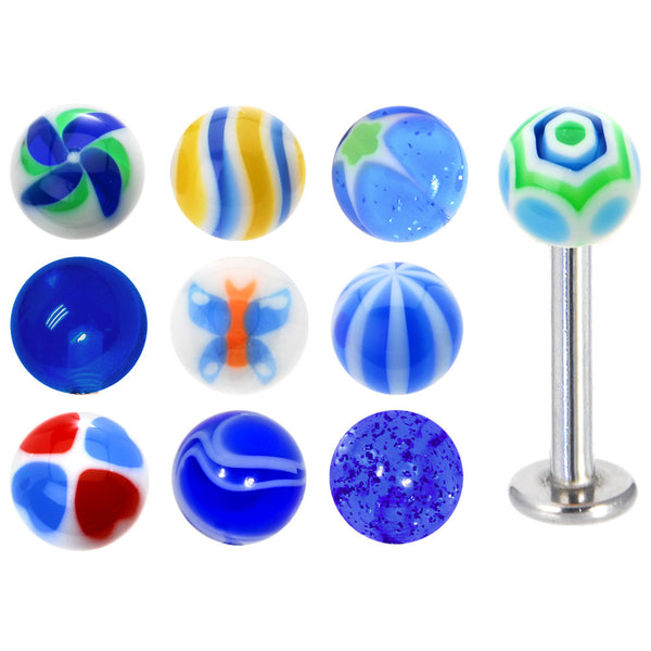 14 Gauge Multi Blue 10 Ball Interchangeable Labret Pack Set
