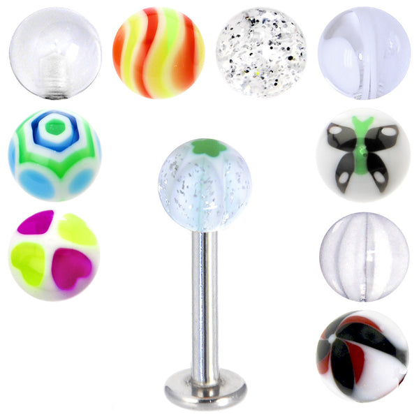 14 Gauge Multi Clear 10 Ball Interchangeable Labret Pack