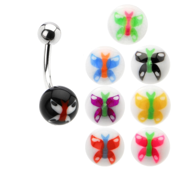 14 Gauge 8 Butterfly Ball Interchangeable Belly Ring Pack Set