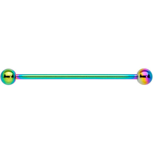 14 Gauge Rainbow Anodized Titanium Industrial Barbell Earring