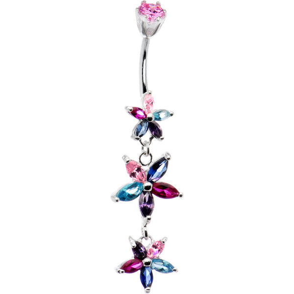 Silver 925 Autumn CZ Floral Drop Belly Ring