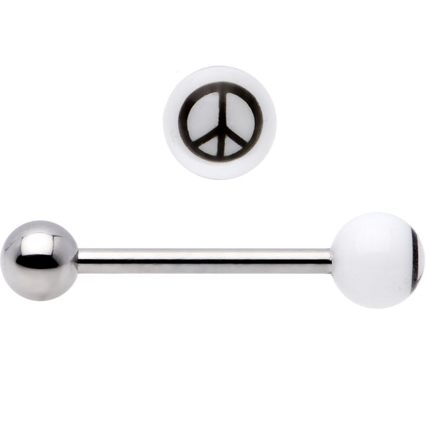Clear Acrylic Black Peace Sign Barbell Tongue Ring