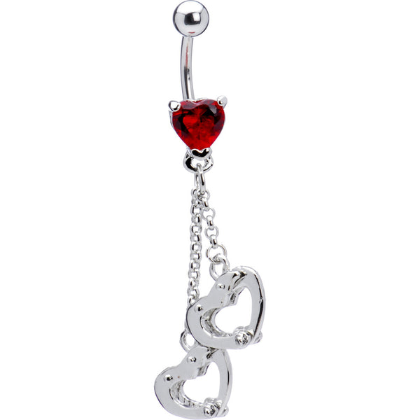 Red Gem Locking Handcuff Heart Belly Ring