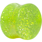 5/8 Gauge Neon Green Ultra Glitter Saddle Plug