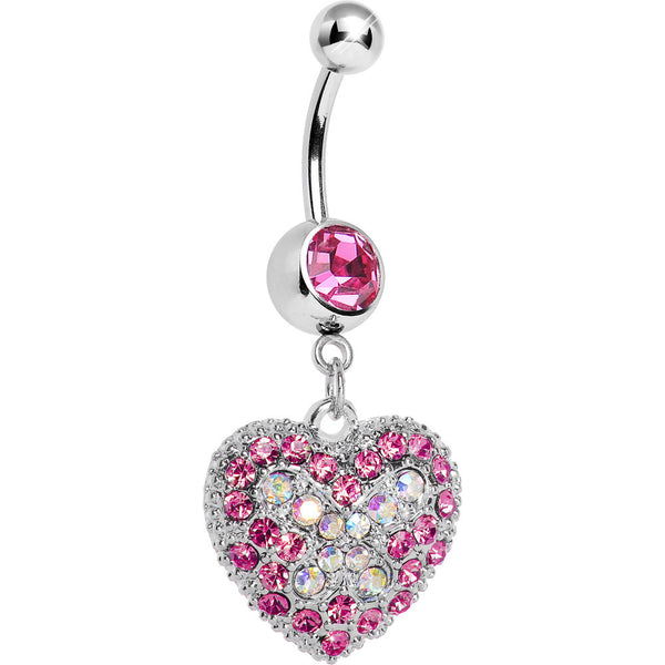Love's Ascent Pink Butterfly Heart Dangle Belly Ring