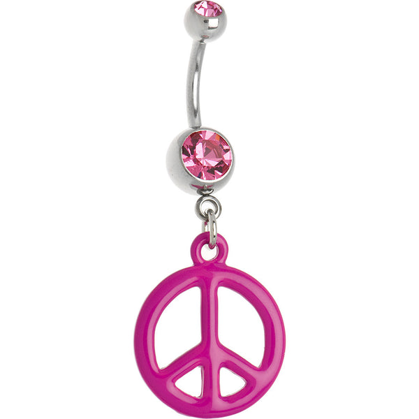 Pink Neon Peace Sign Belly Ring