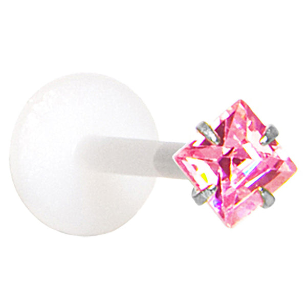 16 Gauge 3/8 Pink 3mm CZ Princess Labret Monroe