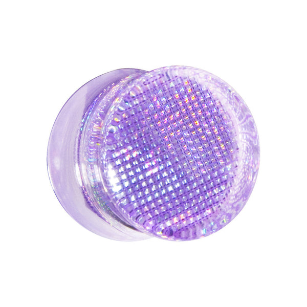 "9/16"" Purple Acrylic Double Flared Metallic Hologram Plug"