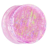 "3/4"" Pink Acrylic Double Flared Metallic Hologram Plug"