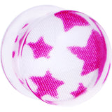 0 Gauge Acrylic White Pink Star Saddle Plug