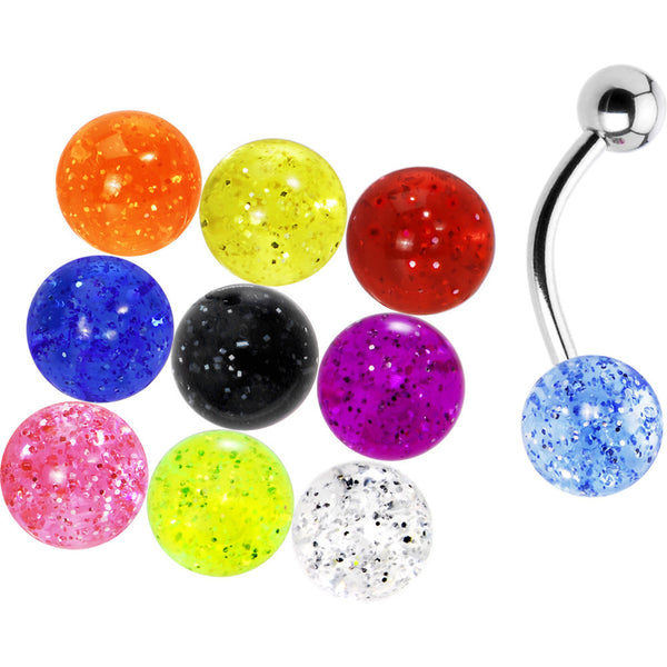 14 Gauge Multi Glitter 10 Ball Interchangeable Belly Pack