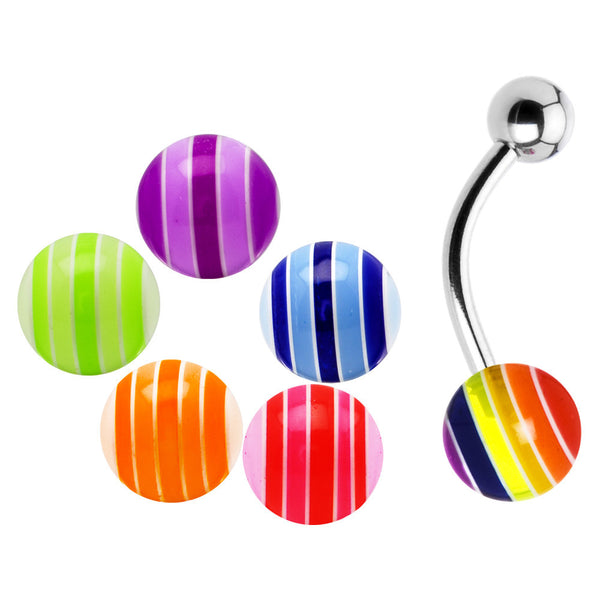 14 Gauge Multi Striped 6 Ball Interchangeable Belly Pack Set