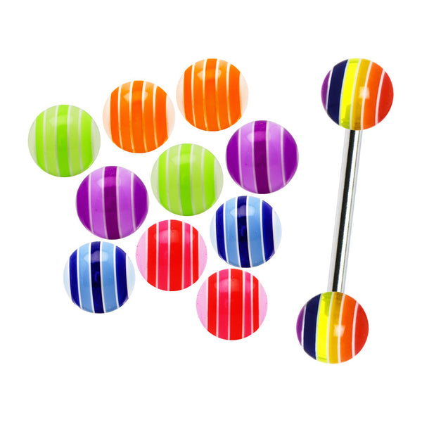 14 Gauge Multi Striped 6 Pair Interchangeable Barbell Pack Set