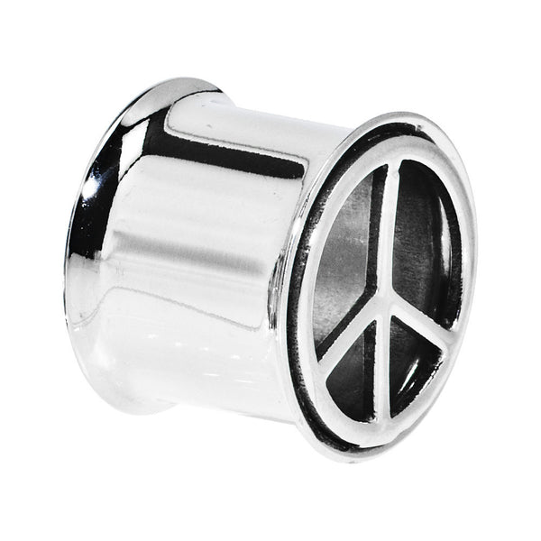 "9/16"" Stainless Steel Double Flare Peace Symbol Tunnel"