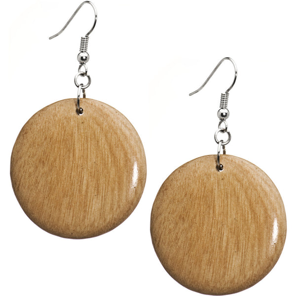 Natural Wood Round Dangling Earrings