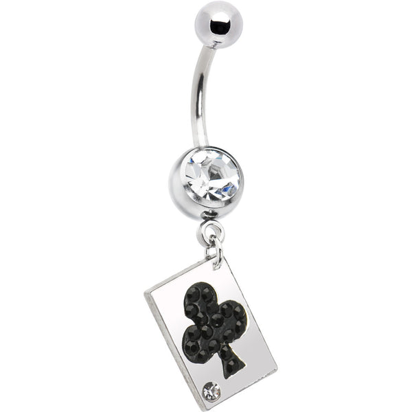 Playing Card Black Club Belly Ring