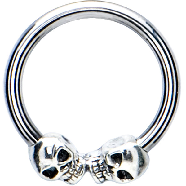 Silver 925 Skull Meets Skull Closure Ring