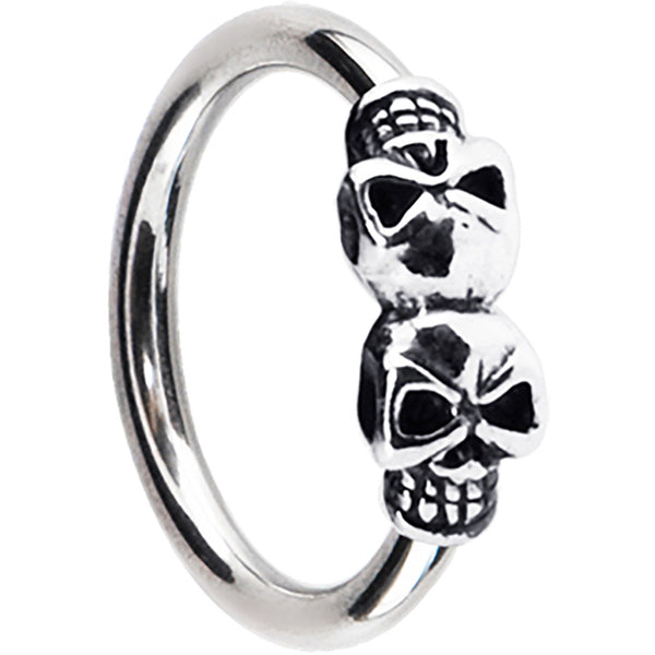 Silver 925 Double Skull Closure Ring