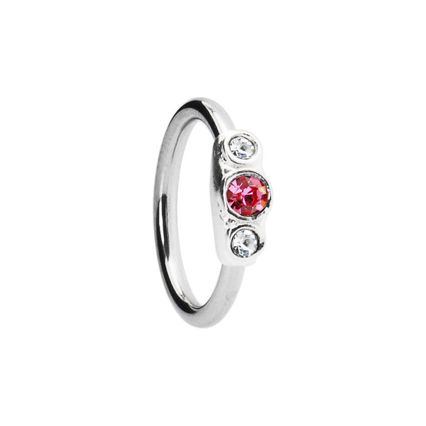 Silver 925 Rose and Clear Austrian Crystal Closure Ring