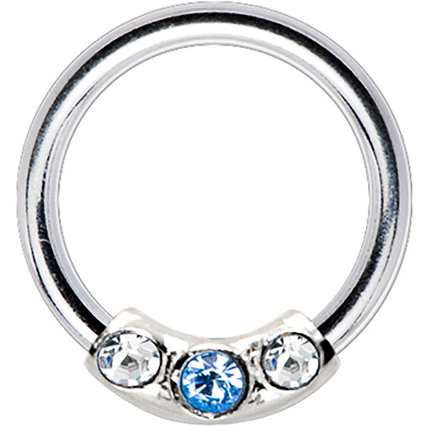 Silver 925 Light Blue Trio Austrian Crystal Closure Ring