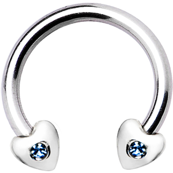 Silver 925 L. Blue Crystal Heart Horseshoe Circular Barbell