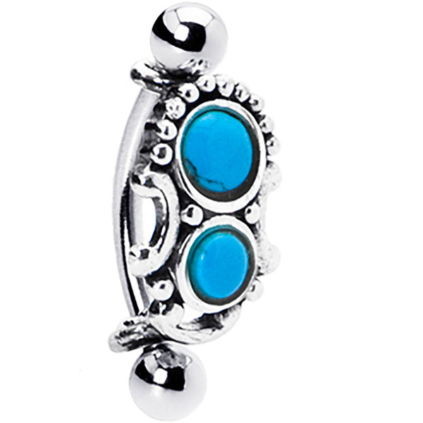 Silver 925 Top Down Southwest Blue Turquoise Eyebrow Ring