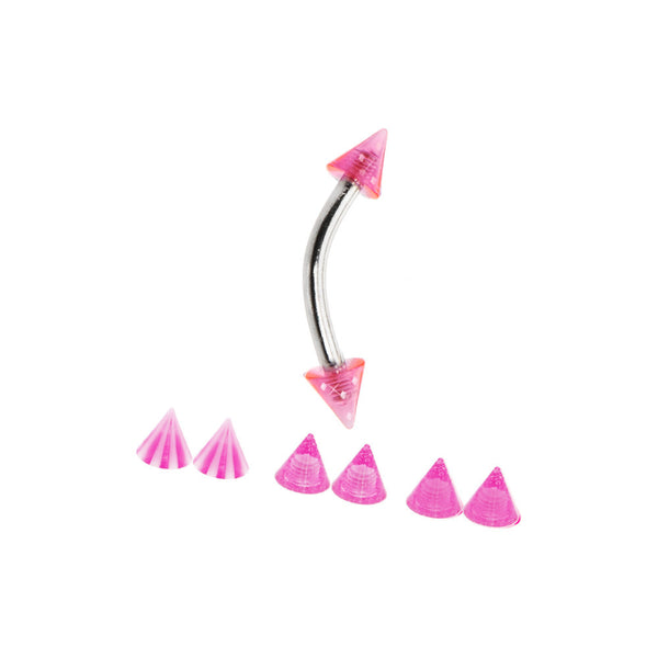 16 Gauge Pink Cone 4 Pair Interchangeable Eyebrow Pack