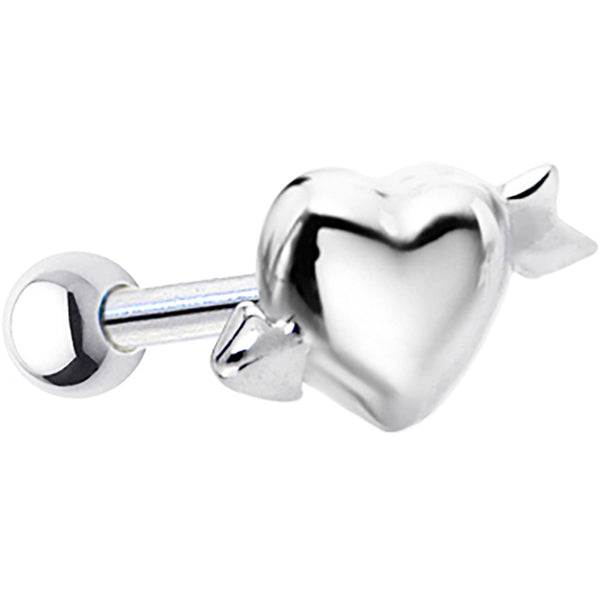 Silver 925 Heart with Arrow Cartilage Earring
